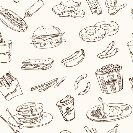 butter knife: Vector hand drawn seamless pattern american cuisine hot dog, hamburger and cheeseburger, sandwich, steak, sausage, ketchup. Vintage illustration for design menus, recipes and packages product. Illustration