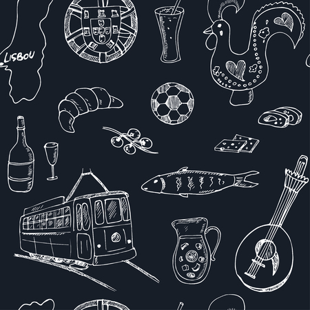 belem: Portugal isolated seamless pattern. Hand drawn vector illustration