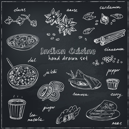 Vector hand drawn set of Indian cuisine. traditional spicy flavored dishes, desserts, beverages. Illustration