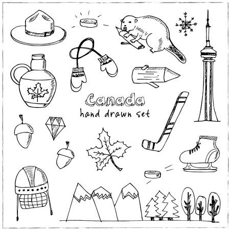 mountie: Canada hand drawn icon vector doodle set Illustration