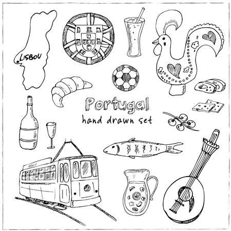 Portugal isolated elements and symbols. Hand drawn vector illustration 矢量图像
