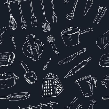 キッチン ツール ベクトル イラスト - シームレスなパターンを落書き  イラスト・ベクター素材