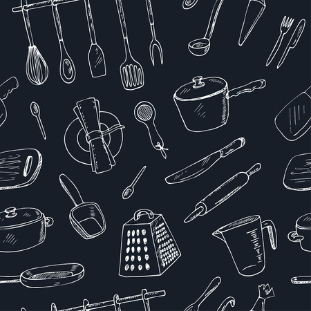 Doodle Kitchen tool seamless pattern - vector illustration