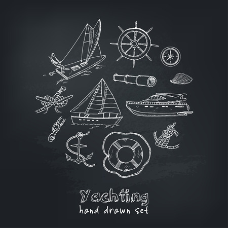 Collection of vector yachting doodle icons. Isolated objects.