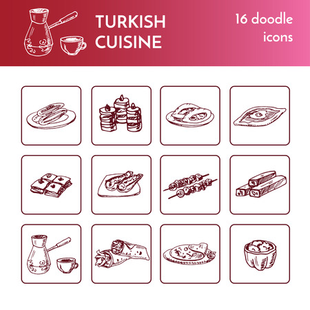 Turkish cuisine. Vector isolated Illustration for menus, recipes and packages product