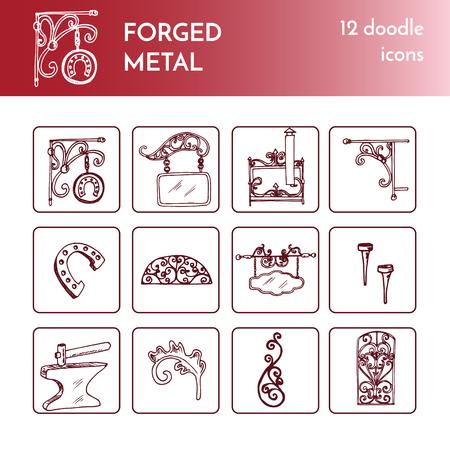 Schmiedete Metall-Produkte, künstlerische Schmieden Kritzeleien Sammlung .Vector isoliert Illustration auf weißem Hintergrund