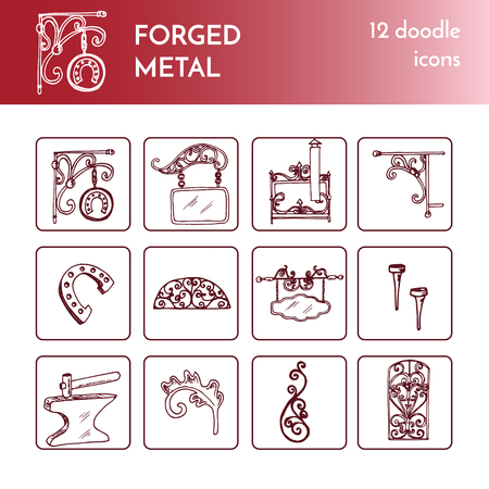 Forged metal products, artistic forging doodles collection .Vector isolated Illustration on white background Vettoriali