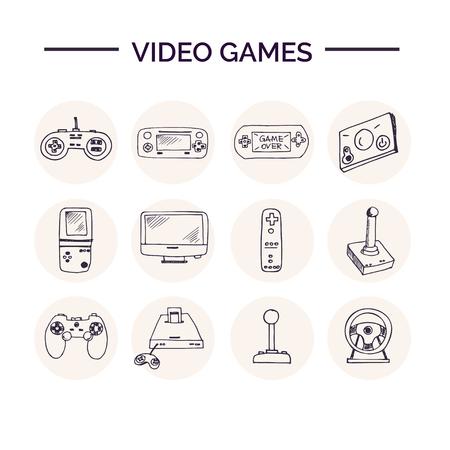 Hand drawn doodle video games set. Illustration