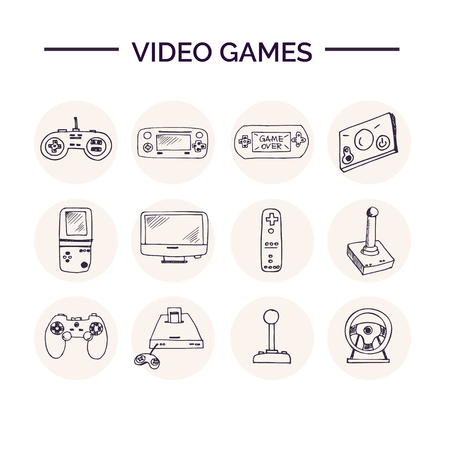 Hand drawn doodle video games set. Vettoriali