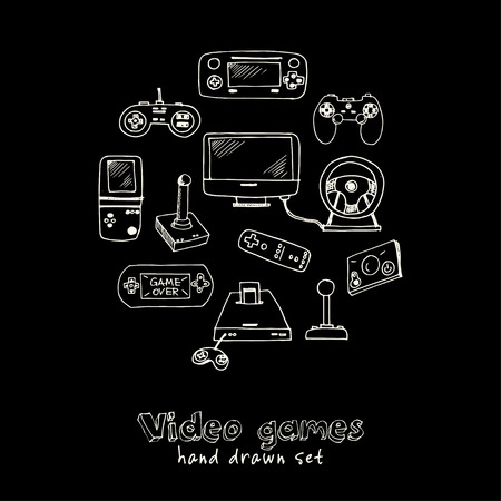 Hand drawn doodle video games set. Vector illustration. Isolated elements on chalkboard background. Symbol collection.