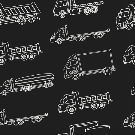 Hand drawn doodle truck seamless pattern Vector illustration. Symbol collection.