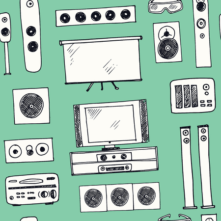 Hand drawn doodle home cinema seamless pattern
