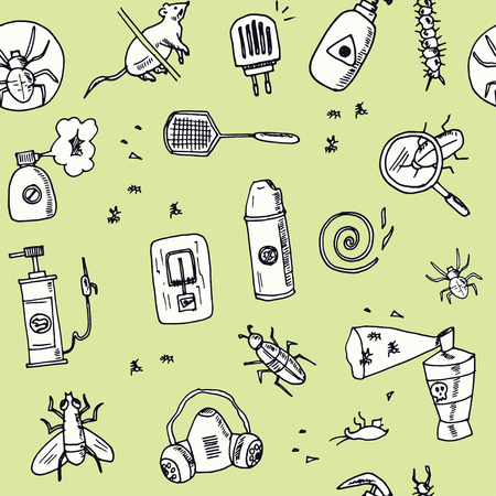 Hand drawn doodle pest control seamless pattern Vector illustration. Symbol collection.
