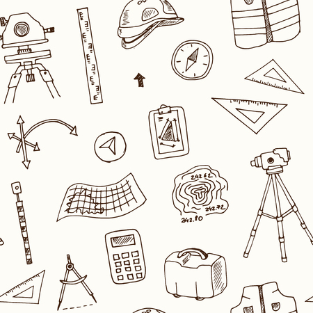 Hand drawn doodle geodetic survey seamless pattern