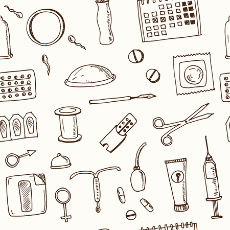 Hand drawn doodle contraceptive seamless pattern Vector illustration. Symbol collection. Illustration