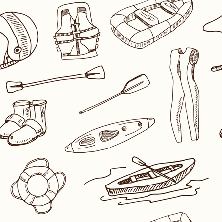 Hand drawn doodle rafting seamless pattern Vector illustration. Symbol collection. Vectores