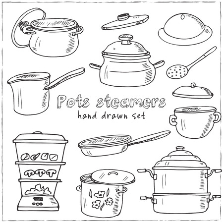 Hand drawn doodle pots steamers set. Vector illustration. Isolated elements on white background. Symbol collection. Illustration