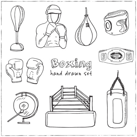 Hand drawn doodle boxing set. Vector illustration. Isolated elements on white background. Symbol collection.
