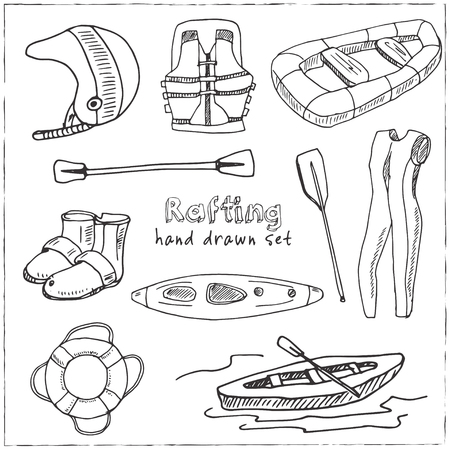 Hand drawn doodle rafting set. Vector illustration. Isolated elements on white background. Symbol collection.