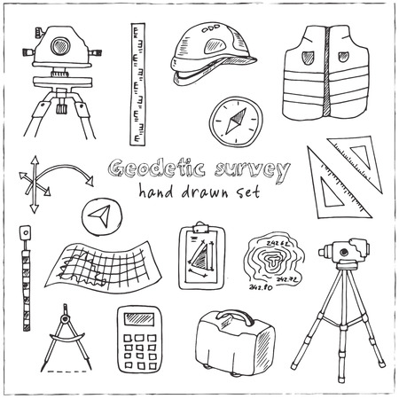 Hand drawn doodle geodetic survey set. Vector illustration. Isolated elements on white background. Symbol collection. Illustration