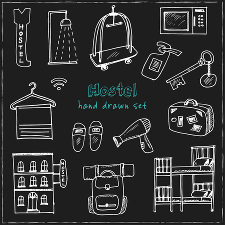Hostel Hand drawn doodle set. Vector illustration. Isolated elements on blackboard background. Symbol collection.