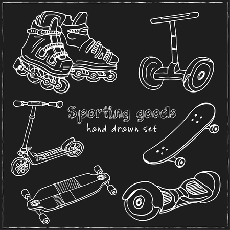 Sporting goods Hand drawn doodle set. Vector illustration. Isolated elements on blackboard background. Symbol collection.