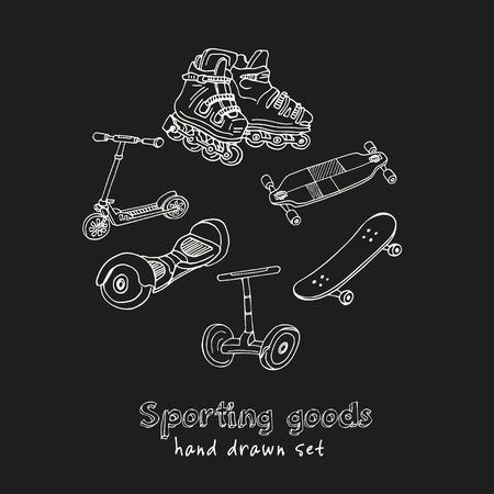 スポーツ用品 ハンド描きの落書きセット。ベクトルイラスト。黒い背景に分離された要素。