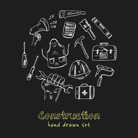 Construction Hand drawn doodle set. Vector illustration. Isolated elements on black background. Symbol collection. Illustration