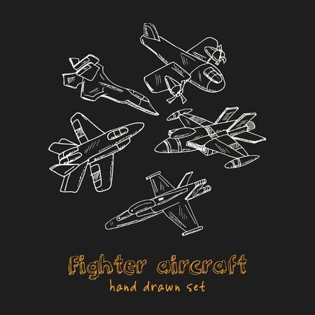 Fighter aircraft Vintage decoration. Hand drawn doodle set. Vector illustration. Isolated elements on black background. Symbol collection.