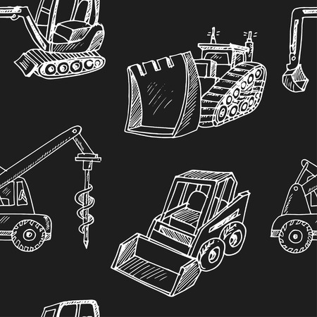 Construction car Hand drawn doodle seamless pattern. Vettoriali