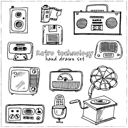 Retro technology Hand drawn doodle set. 矢量图像