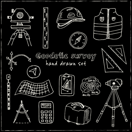 Hand drawn doodle geodetic survey set. Vector illustration. Isolated elements on chalkboard background. Symbol collection.