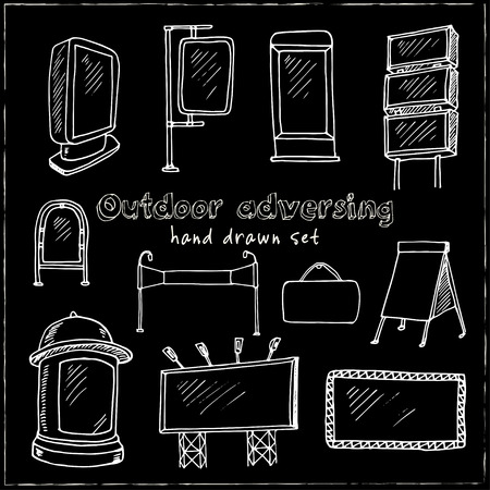 Hand drawn doodle outdoor adversing set. Vector illustration. Isolated elements on chalkboard background. Symbol collection. Illustration