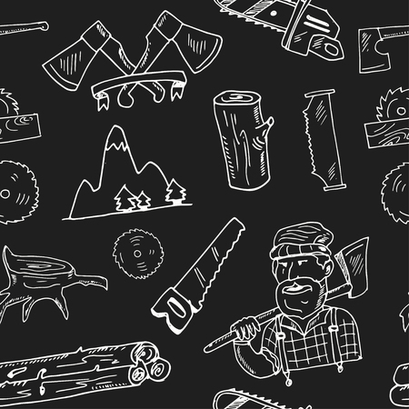 Hand drawn doodle lumberjack seamless pattern Vector illustration. Symbol collection.