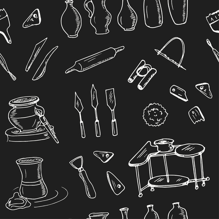 Hand drawn doodle ceramic classes seamless pattern Vector illustration. Symbol collection.