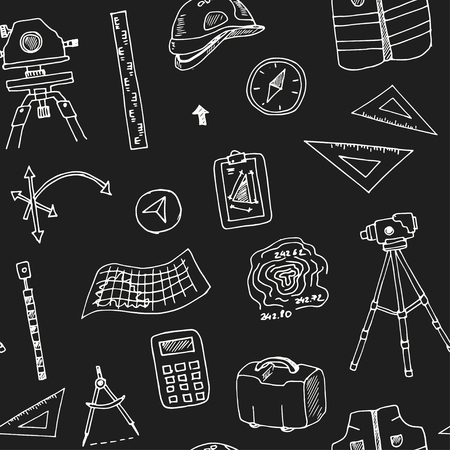 Hand drawn doodle geodetic survey seamless pattern Vector illustration. Symbol collection.