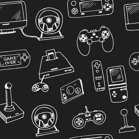 Hand drawn doodle video games seamless pattern.