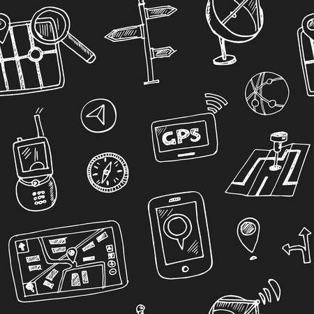 Hand drawn doodle navigation seamless pattern Vector illustration Symbol collection.