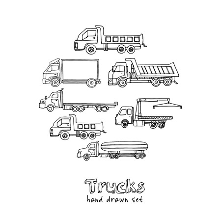 Hand drawn doodle truck set. Vector illustration. Isolated elements on white background.
