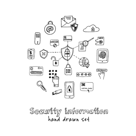 Hand drawn doodle security information set. Vectores