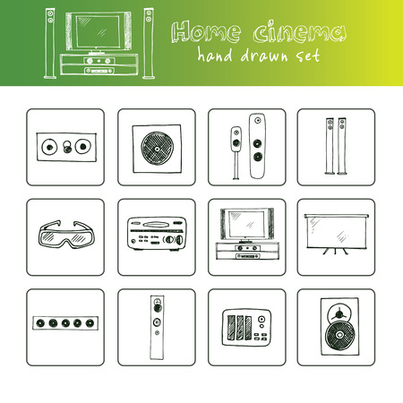 Hand drawn doodle home cinema set. Vector illustration. Isolated elements on white background. Symbol collection.