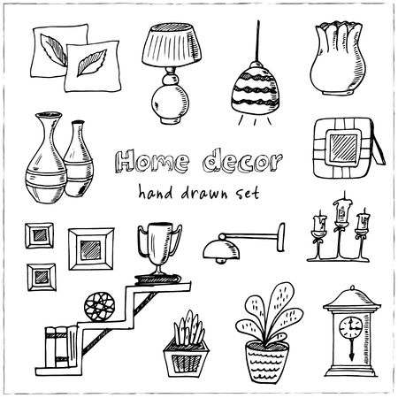 Home decor hand drawn doodle set