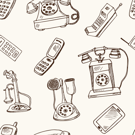 History of phones hand drawn doodle seamless pattern. Sketches. Vector illustration for design and packages product. Symbol collection. Isolated elements on white background.