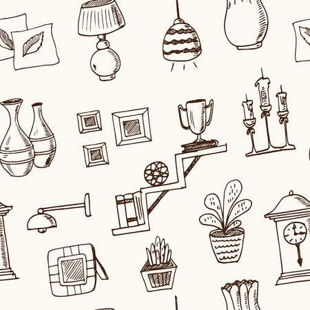 Home decor hand drawn doodle seamless pattern. Vector illustration for design and packages product. Illustration