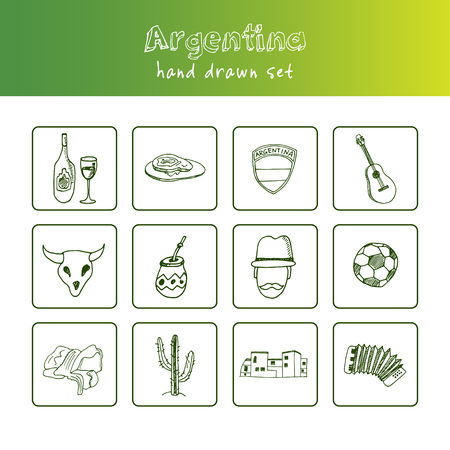 Argentina hand drawn doodle set. Vector illustration for design and packages product. Ilustrace