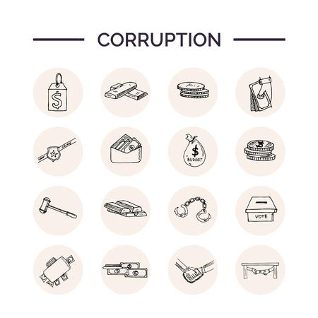 Corruption hand drawn doodle set.