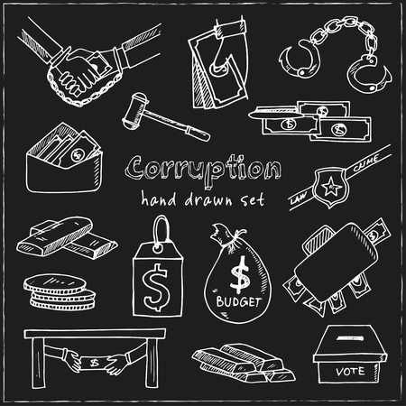 Corruption hand drawn doodle set vector illustration