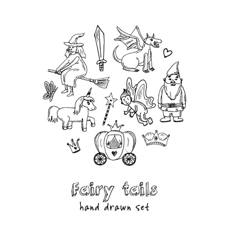 Fairy tails hand drawn doodle set sketches vector illustration for design and packages product, symbol collection. Vettoriali