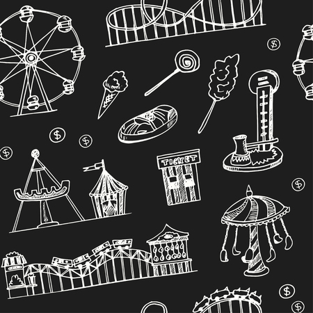 Amusement park hand drawn doodle seamless pattern. Sketches. Vector illustration for design and packages product. Symbol collection.