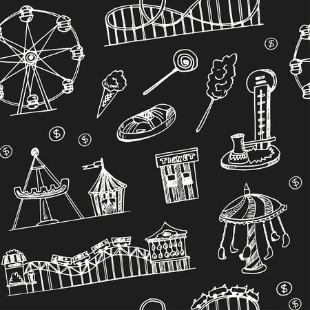Modello senza cuciture di doodle disegnato a mano del parco di divertimenti. Schizzi. Illustrazione vettoriale per prodotto di design e pacchetti. Collezione di simboli.
